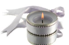 Lavender candle with ribbon Stock Photos