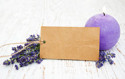Lavender with candle and tag Royalty Free Stock Photos