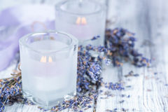 Lavender Candles Stock Photo