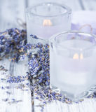 Lavender Candles Stock Images