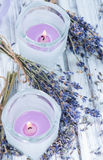 Lavender Candles Royalty Free Stock Images