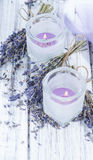 Lavender Candles Stock Photography