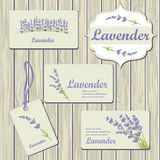 Lavender cards and labels. On wood plank background. Template for design textile, greeting cards, wrapping paper, packages, backgrounds. Vintage vector Stock Image