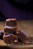 Lavender chocolate brownies Stock Photos