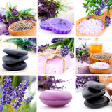 Lavender collage. With nine photos, Spa stones Royalty Free Stock Photo