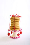 Lavender Cookies on Antic Stand with Red Hearts Stock Image