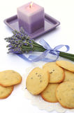 Lavender cookies and candle Royalty Free Stock Image