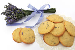 Lavender cookies and flower. Isolated on white royalty free stock photography