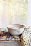 Lavender cookies with milk Stock Photography