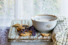 Lavender cookies with milk Stock Photos