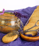 Lavender Cookies with Sugar and flowers on purple paper Royalty Free Stock Images
