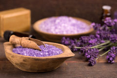 Lavender. Cosmetic natural product, lavender, oil, aroma salt over wooden background Stock Image