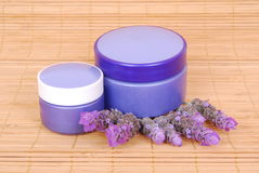 Lavender cosmetic products Stock Photo