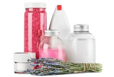 Lavender  with cosmetics bottles of liquids  on. Cosmetic bottles lavender liquids white background space Royalty Free Stock Photos