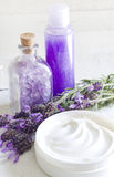 Lavender cosmetics spa body care abstract composition Royalty Free Stock Images