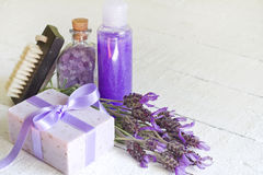 Lavender cosmetics spa body care abstract composition Stock Photography