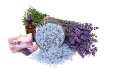 Lavender cosmetics on white background Stock Images