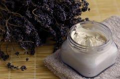 Lavender Cream. Lavender moisturizer with lavender flowers royalty free stock photos