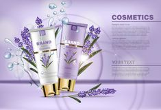 Lavender cream cosmetic Vector mock up. Realistic product packaging label design. Lotion hydrating aroma therapy Vector Illustration