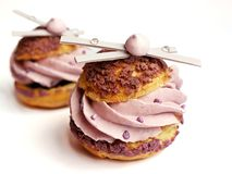 Lavender cream puffs with meringues and white chocolate decorations royalty free stock photo