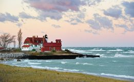 lavender Dawn Point Betsie Lighthouse , Michigan Stock Image