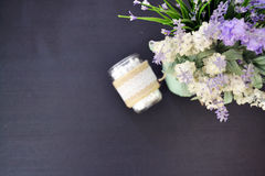 Lavender decoration top view and a glass jar. Top view of the lavender decoration beside a glass jar Royalty Free Stock Image