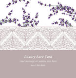 Lavender delicate lace card. Springtime Summer fresh natural wedding card. Vector illustration Royalty Free Stock Photos