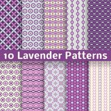 Lavender Different Vector Seamless Patterns Stock Photography