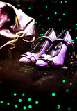 Lavender disco shoes and handbag Stock Images