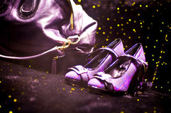 Lavender disco shoes and handbag Stock Photo