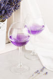 Lavender drinks in glass Royalty Free Stock Photography