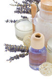 Lavender dry flowers and spa set Stock Images