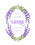 The lavender elegant card. With frame of flowers and text. Lavender garland for your text presentation. Label of soap package. Label with lavender flowers Stock Photography