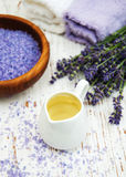 Lavender with essencial oil Royalty Free Stock Images
