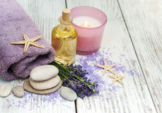 Lavender with essencial oil Royalty Free Stock Photo