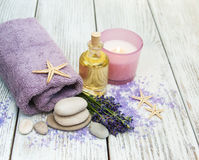 Lavender with essencial oil Royalty Free Stock Photos