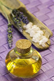 Lavender essential oil with bath salts Stock Photography