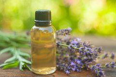 Lavender essential oil in  beautiful bottle on table. Lavender essential oil in a beautiful bottle on the table Stock Photography