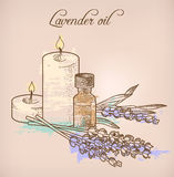 Lavender essential oil and candles Royalty Free Stock Photos