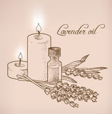 Lavender essential oil and candles Stock Image
