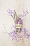 Lavender essential oil in a glass bottle Stock Photos