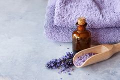 Lavender essential oil spa. SPA, essential oil with lavender flowers - health and beauty stock photography