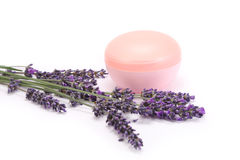Lavender and face cream Royalty Free Stock Photography