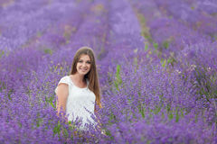 Lavender field and a happy pregnant woman Royalty Free Stock Photos
