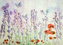 Lavender field with poppies and butterflies. The dabbing technique near the edges gives a soft focus effect due to the altered surface roughness of the paper Stock Photography