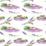 Lavender field, rural provencal house in Provence, France. Seamless background. Watercolor. Lavender field with rural provencal house in Provence, France Stock Photography