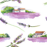 Lavender field, rural provencal house in Provence, France. Vintage seamless pattern.Watercolor Stock Images