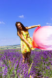 Lavender field,  young woman, Crimea Royalty Free Stock Images