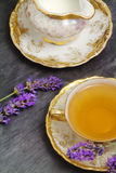 Lavender flavored tea  with  milk jug Royalty Free Stock Photo