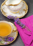 Lavender flavored tea  with  milk jug Royalty Free Stock Image